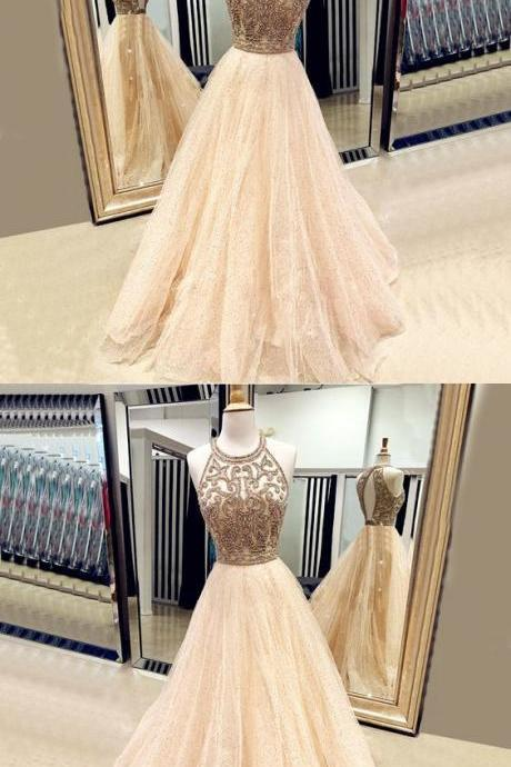 champagne Prom Dress,Long Prom Dress,Robe De Bal,Formal Dresses m530