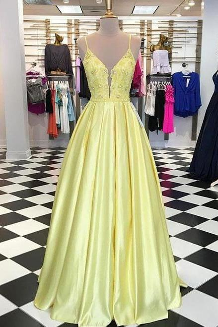 Unique yellow satin V neck long a line senior prom dress with applique m533