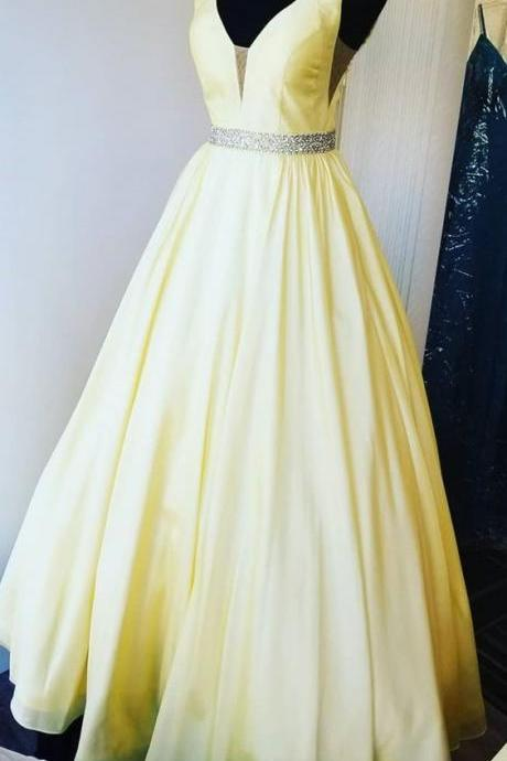 elegant yellow long prom dress with beading sash, prom dress, yellow graduation dress m534