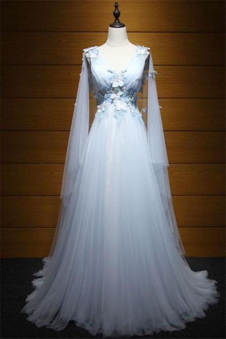 Fairy Princess V Neck Low Back Light Blue Tulle Butterfly Prom Dress m545