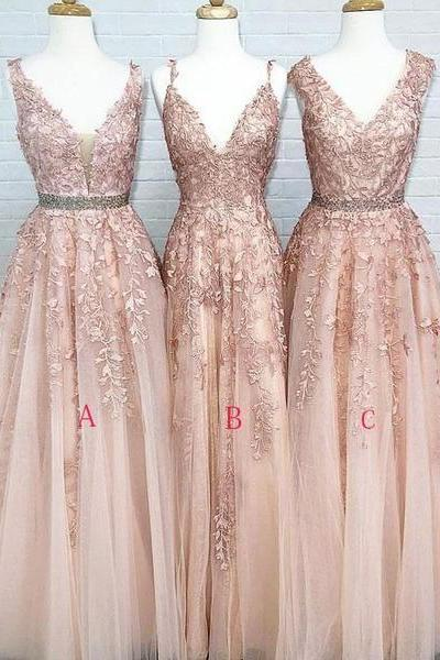 Cheap V neck A-line Lace Beaded Evening Prom Dresses, Cheap Custom Sweet 16 Dresses m547