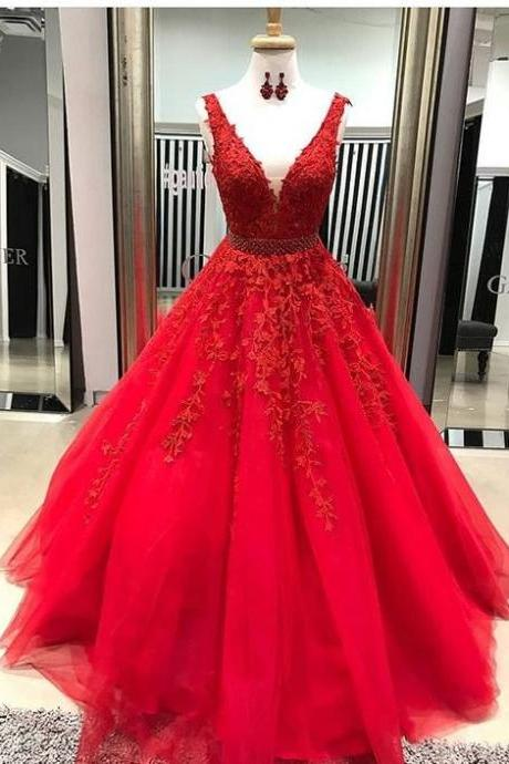 Cheap V neck A-line Lace Beaded Evening Prom Dresses, Cheap Custom Sweet 16 Dresses m548