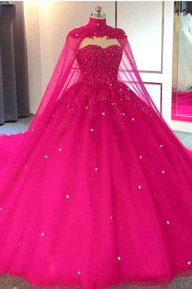 Hot Pink Detachable Cape Quinceanera Sweet 16 Ball Gown m551