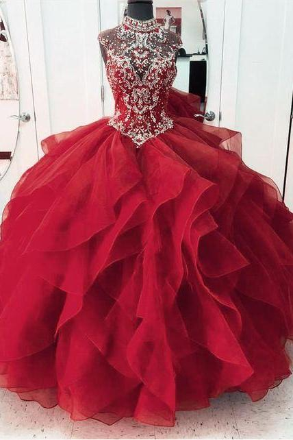 red prom dress Quinceanera Sweet 16 Ball Gown m552
