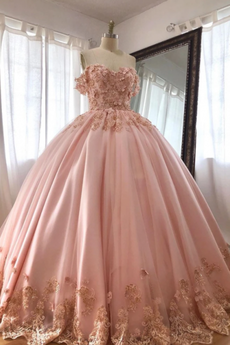 Pink Embroidered Lace Quinceanera Dresses Ball Gowns m553