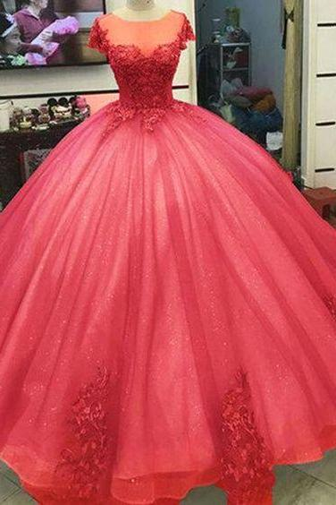 Ball Gown Princess Prom Dresses Lace Appliqued Victorian Formal gowns m558