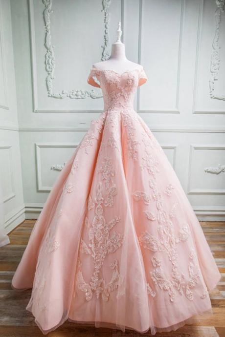 Quinceanera Dress,Sweet 16 Dresses,Spring pink tulle sweetheart neckline long off shoulder evening dress, long formal prom gown m582