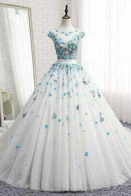 Princess Butterfly Flowers Ball Quinceanera Dress Sweet 15 Birthday Party Gown m643