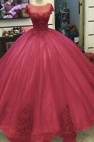 Ball Gown Princess Prom Dresses Lace Appliqued Victorian Formal gowns m674
