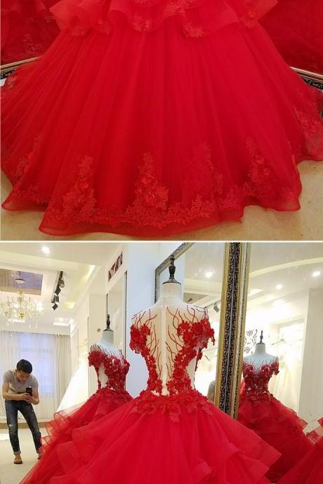 Red Tulle See Through 3D Lace Flower Beaded Multi-layer Ball Gown, Formal Prom Dress With Sleeve m727