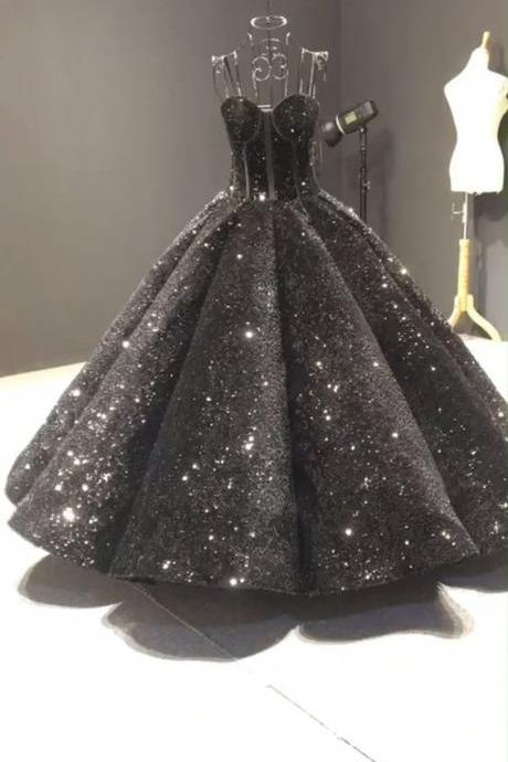 Sparkly black sequin prom gowns m842