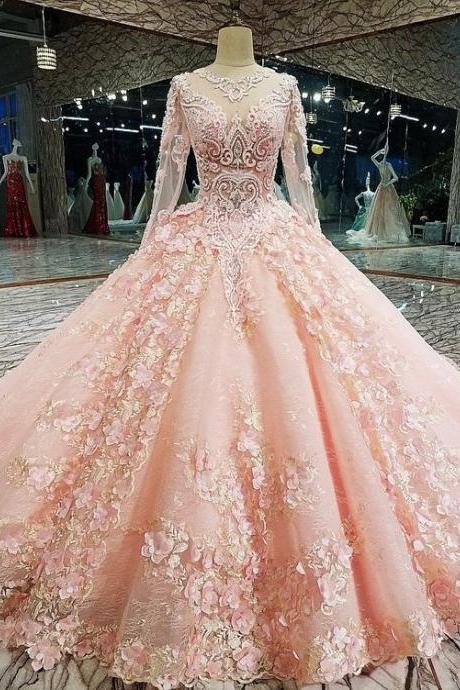 Long Sleeve Appliques Tulle Quinceanera Dresses with Flower, Elegant Beaded Ball Gown Prom Dresses, Formal Evening Dress m1059