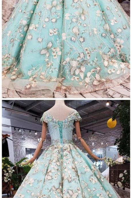 Big Sheer Neck Puffy Prom Dress with Cap Sleeves, Fairy Tale Lace Dress with Beading m1300