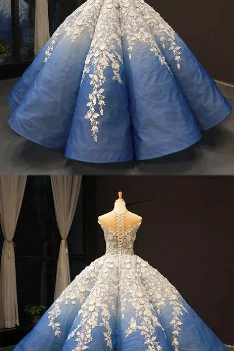 Blue Round Neck Lace Up Ball Gown, Formal Prom Dress With Applique m2462