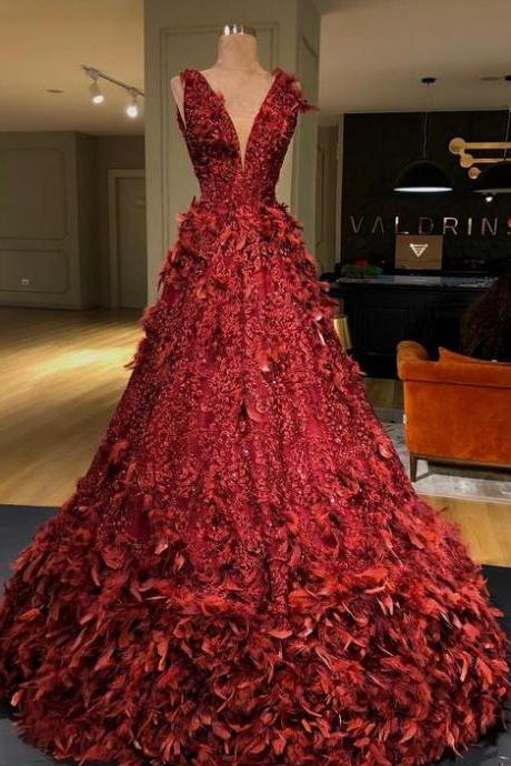 v neck prom dresses, feather prom dresses, red evening dresses, deep v neck prom dresses, a line prom dresses m2633
