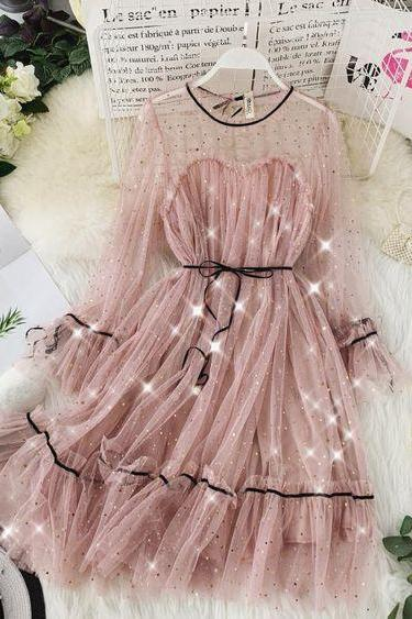 Beautiful Sparkle Sequins Lace Mesh Sleeves Party Dress
