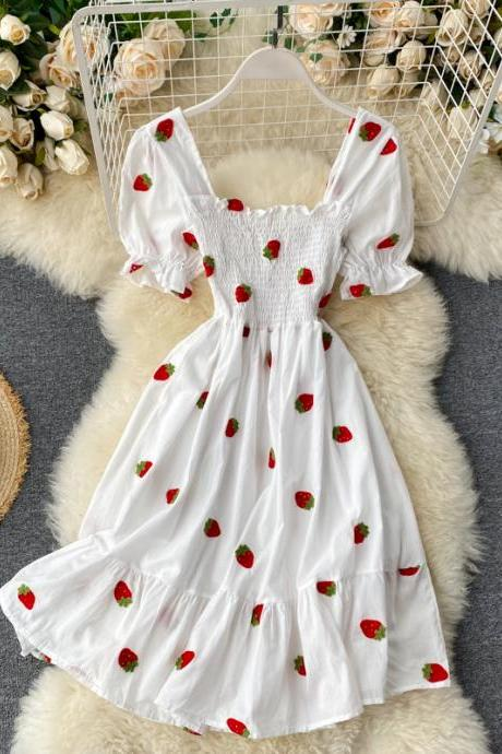 Cherry and Strawberry Kawaii Embroidery Vintage Dress