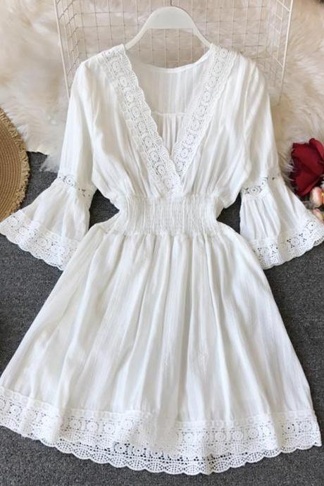 A line white hollow lace dress summer dress