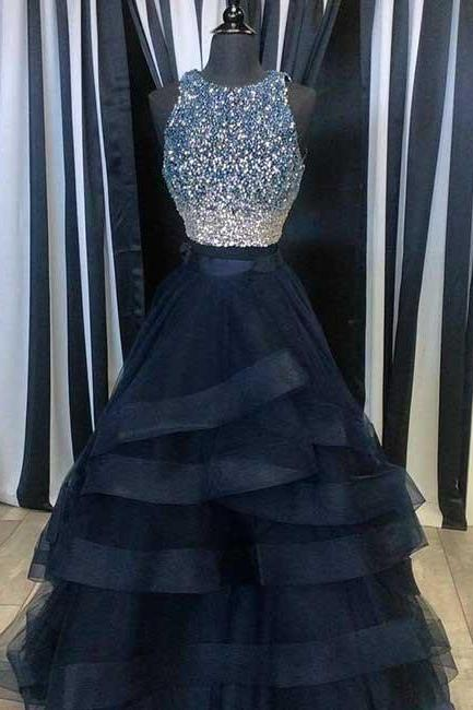 New Arrival navy blue two pieces sequin long prom dress,navy blue evening dress