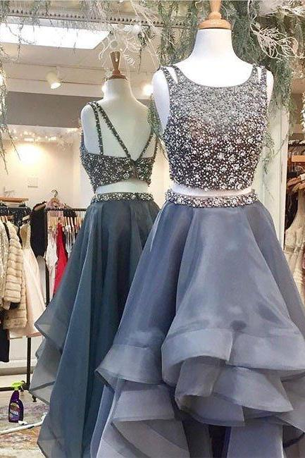 2017 New Arrival two pieces gray tulle prom dress, long gray evening dress