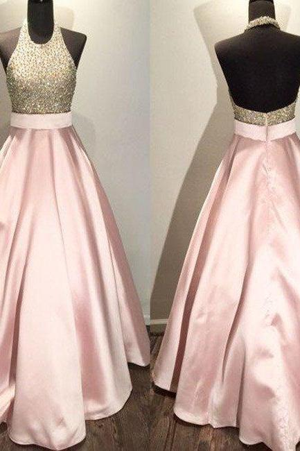 New Arrival pink round neck sequin long prom gown, pink evening dress for teens