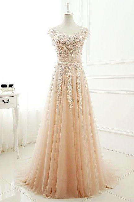 New Arrival a-line round neck tulle lace long prom dress, evening dress