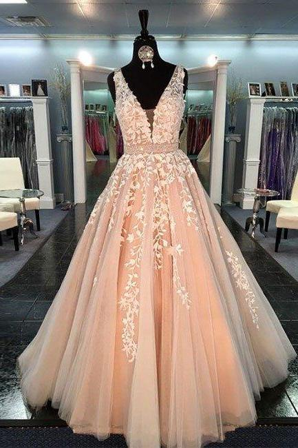 New Arrival unique v neck tulle lace long prom dress for teens, formal dress