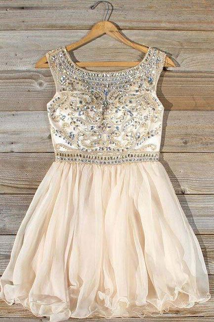 homecoming dresses,cute round neck bead apricot short prom dress, homecoming dress