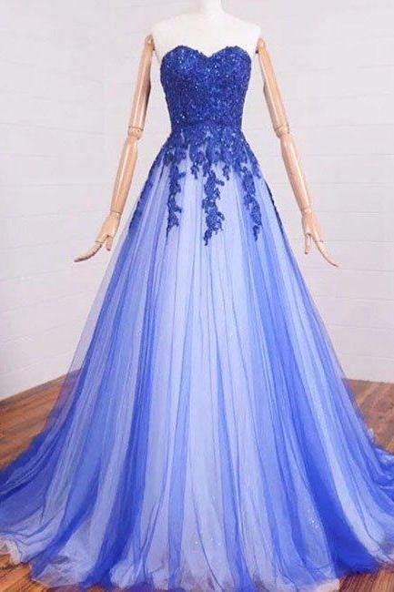 prom dresses,sweetheart a-line lace tulle long prom dresses, formal dresses