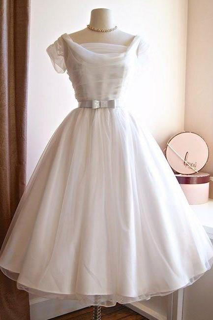 wedding dresses,white round neck tulle retro short prom dress, bridesmaid dress