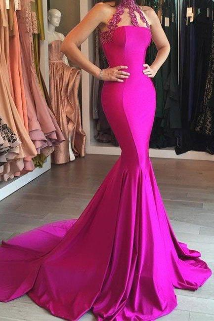 prom dresses,New Arrival custom made hight neck mermaid long prom dress, evening dress