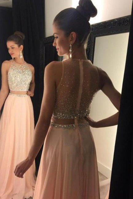 prom dresses,New Arrival a-line round neck pink chiffon sequin long prom dress,2 pieces evening dress