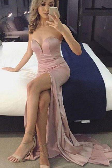 prom dresses,New Arrival simple sweetheart neck pink long prom dress, evening dress