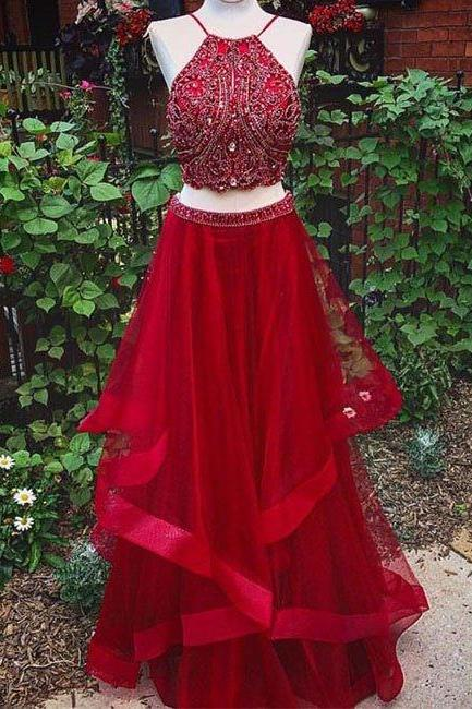 prom dresses,New Arrival red two pieces sequin long prom dress, evening dress