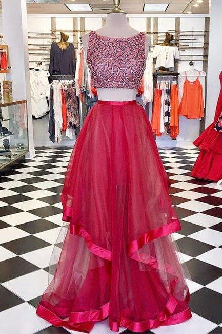 prom dresses,New Arrival red round neck sequin two pieces long prom dress, evening dress