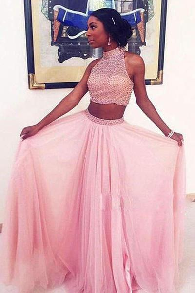 prom dresses,2 pieces formal dress,pink tulle sequin two pieces long prom dress, pink evening dress