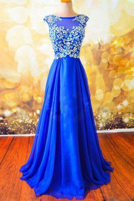 Prom Dressesroyal Blue Round Neck Chiffon Beaded Long Dressbackless Formal Dress