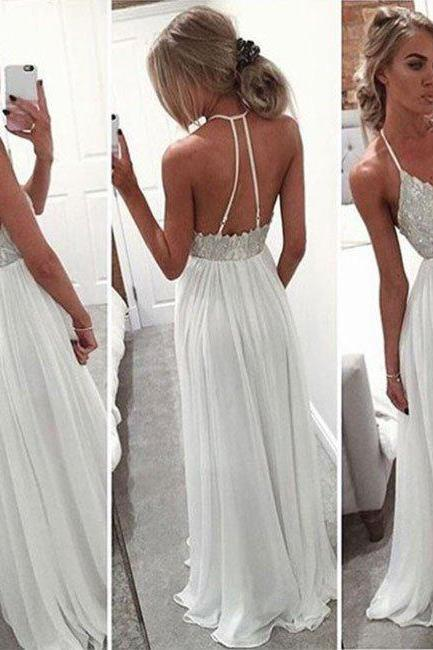 prom dresses,white a-line v neck sequin long prom dress, formal dress