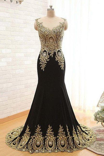 prom dresses,New Arrival black round neck lace applique long prom dress, black evening dress
