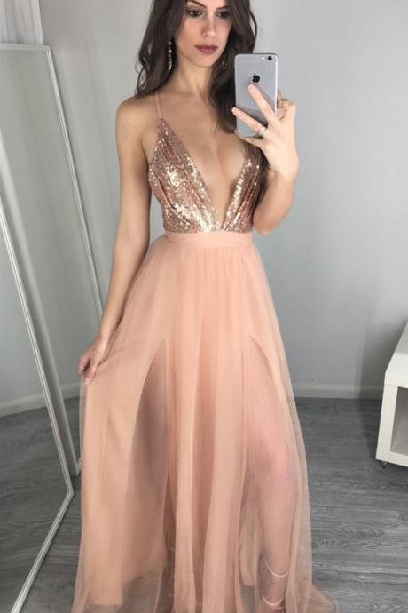 Sexy Long Prom Dress, Deep V Neck Prom Dress, Sequin Prom Dress, Popular Prom Dress, Champagne Prom Dress with Slit, Long Prom Dress, Special Occasion Gowns, Prom Dress, Party Dress