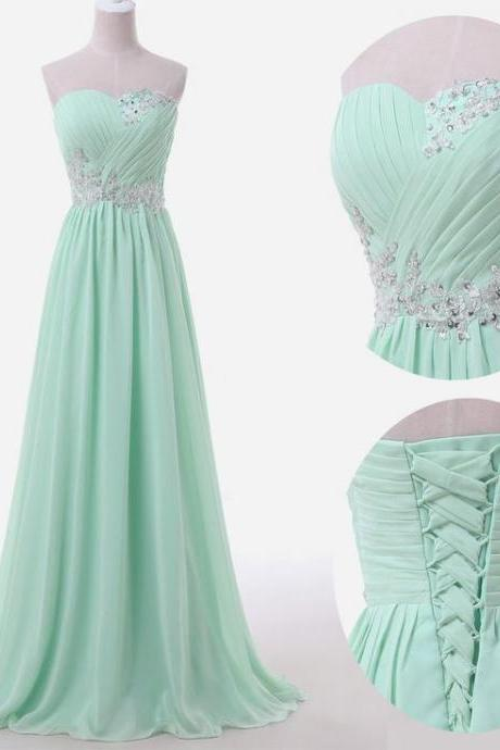 Mint Long Chiffon A-Line Prom Dress Featuring Ruched Sweetheart Bodice with Lace Appliqués
