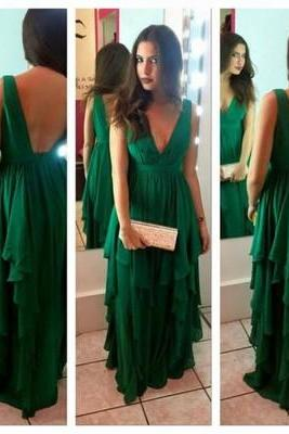 prom dress,Sexy Prom Dress ,V-Neck Prom Dress,A-Line Prom Dress,Hunter green Evening Dress