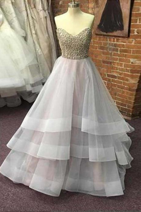 prom dress,Sexy Prom Dress,Gray organza sweetheart A-line long prom dress,graduation dress for teens