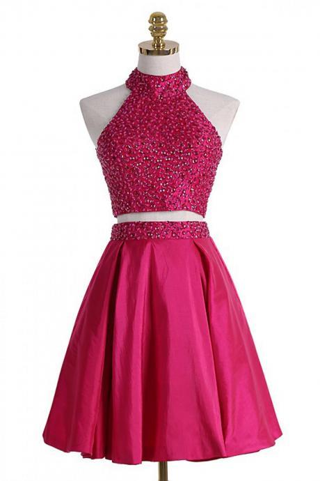 homecoming dresses,A-line short dresses, two pieces open back beading short dress,cute dress