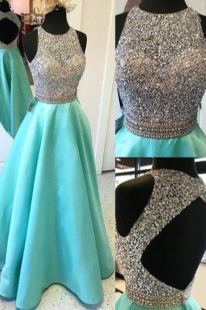 prom dresses,Sexy Prom Dress,Cute open back sequins long senior prom dress with beads, O-neck A-line evening dress