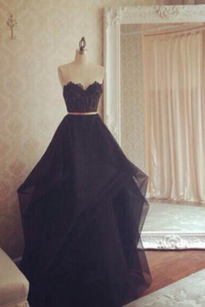 prom dresses,Sexy Prom Dress,Special design black organza long plus size prom dress, homecoming dresses with lace