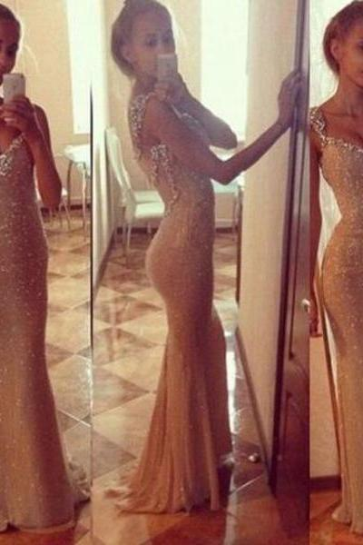 prom dresses,Sexy Prom Dress,Charming Sheath Straps Beaded Long champagne Prom Dress