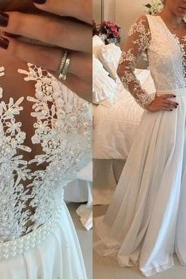 prom dresses,Sexy Prom Dress,2017 prom dress long white prom dress v-neck prom dress