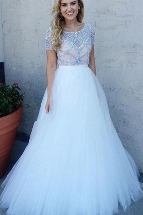 prom dresses,Sexy Prom Dress,2017 prom dresses, long white prom dresses, tulle prom dresses, evening dresses