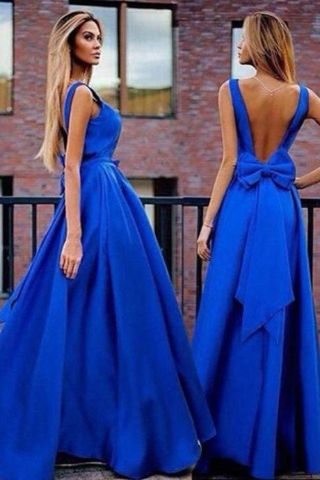 2017 long prom dress,royal blue prom dresses, 2017 prom dresses, long open back prom dresses, sexy prom dresses